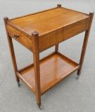 SOLD - Oak Two Tier Tea Trolley with Drawers SOLD